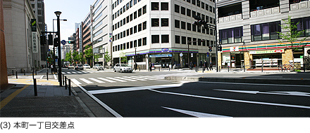 (3)本町一丁目の交差点